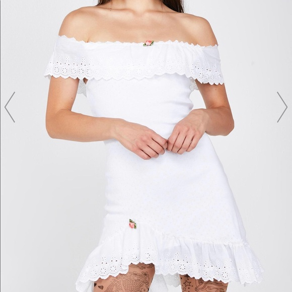 Dolls Kill Dresses & Skirts - BOMBSHELL BLOSSOM OFF-THE-SHOULDER DRESS